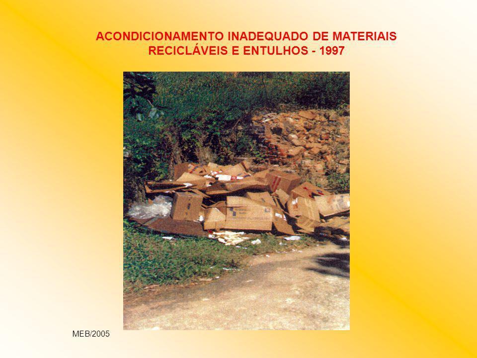 ACONDICIONAMENTO INADEQUADO DE MATERIAIS RECICLÁVEIS E ENTULHOS - 1997 MEB/2005