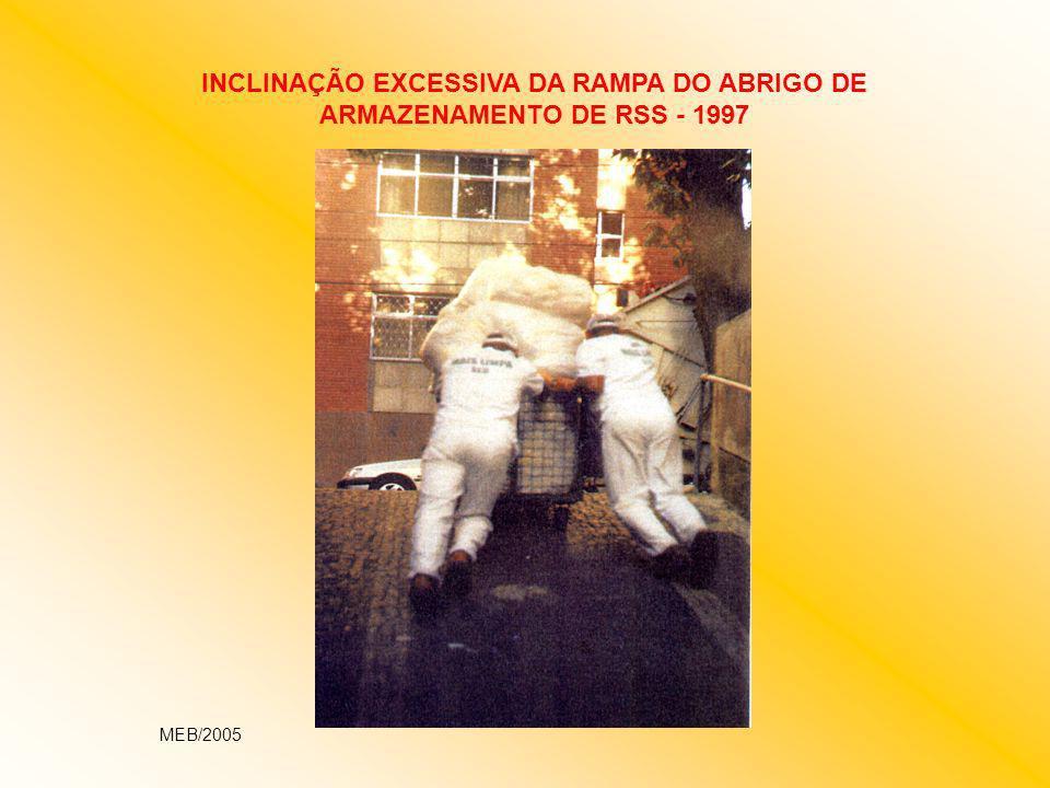 INCLINAÇÃO EXCESSIVA DA RAMPA DO ABRIGO DE ARMAZENAMENTO DE RSS - 1997 MEB/2005