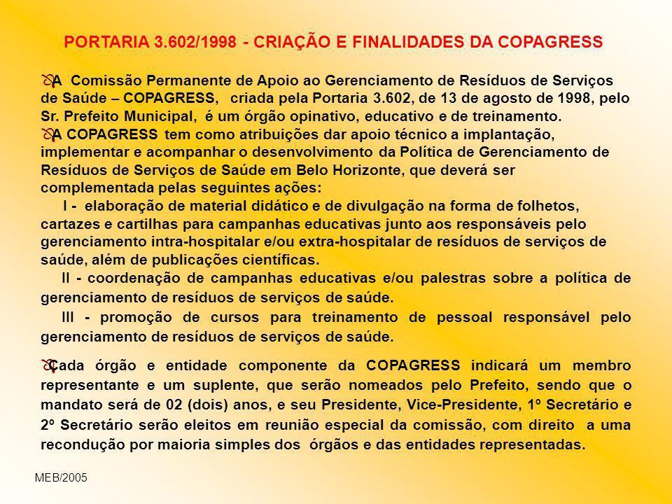 Ô A Comissão Permanente de Apoio ao Gerenciamento de Resíduos de Serviços de Saúde – COPAGRESS, criada pela Portaria 3.602, de 13 de agosto de 1998, p