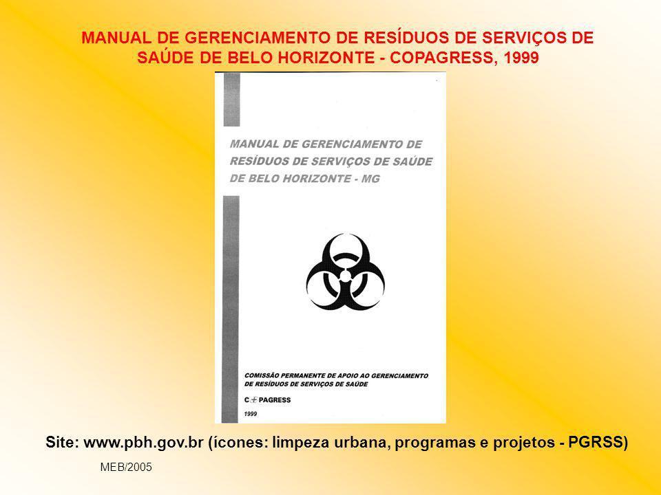 Site: www.pbh.gov.br (ícones: limpeza urbana, programas e projetos - PGRSS) MANUAL DE GERENCIAMENTO DE RESÍDUOS DE SERVIÇOS DE SAÚDE DE BELO HORIZONTE