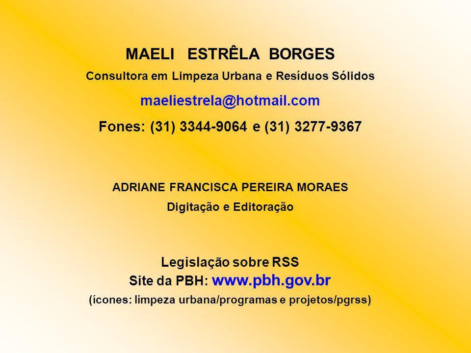 MAELI ESTRÊLA BORGES Consultora em Limpeza Urbana e Resíduos Sólidos maeliestrela@hotmail.com Fones: (31) 3344-9064 e (31) 3277-9367 ADRIANE FRANCISCA