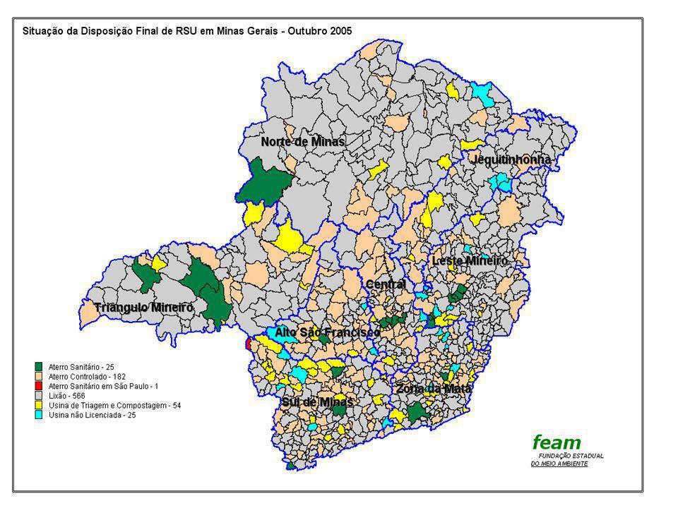LICENCIAMENTO AMBIENTAL SOBRE DISPOSIÇÃO DE RESÍDUOS SÓLIDOS EM MINAS GERAIS – 2005 LICENCIAMENTO AMBIENTAL DE ATERROS SANITÁRIOS (NÚMERO DE MUNICÍPIOS) MEB/2005 LICENCIADOS ATÉ OUTUBRO DE 2005 = 25 (2,94%) 1-ARCOS/ 2-BELO HORIZONTE/ 3-BETIM/ 4-CAMPO BELO/ 5-EXTREMA/ 6-ITUIUTABA/ 7-JOÃO MOLEVADE, RIO PIRACICABA, BELA VISTA DE MINAS 8-JUIZ DE FORA/ 9-LIMA DUARTE/ 10-PARACATU/ 11- SABARÁ/ 12-SANTANA DO PARAÍSO, IPATINGA, TIMÓTEO, CORONEL FABRICIANO, BELO ORIENTE 13-TRÊS CORAÇÕES, SÃO BENTO DO ABADE, INGAÍ/ 14-UBERABA/ 15-UBERLÂNDIA/ 16-VISCONDE DO RIO BRANCO CLARAVAL DISPOSIÇÃO EM ATERRO LICENCIADO EM S.PAULO SEM LICENCIAMENTO = 828 (97,06%) TOTAL DE MUNICÍPIOS NO ESTADO DE MINAS GERAIS = 853 MUNICÍPIOS COM LICENCIAMENTO AMBIENTAL DE ATERROS SANITÁRIOS = 25 NÚMERO DE ATERROS LICENCIADOS = 16 FONTE: FEAM – OUTUBRO DE 2005