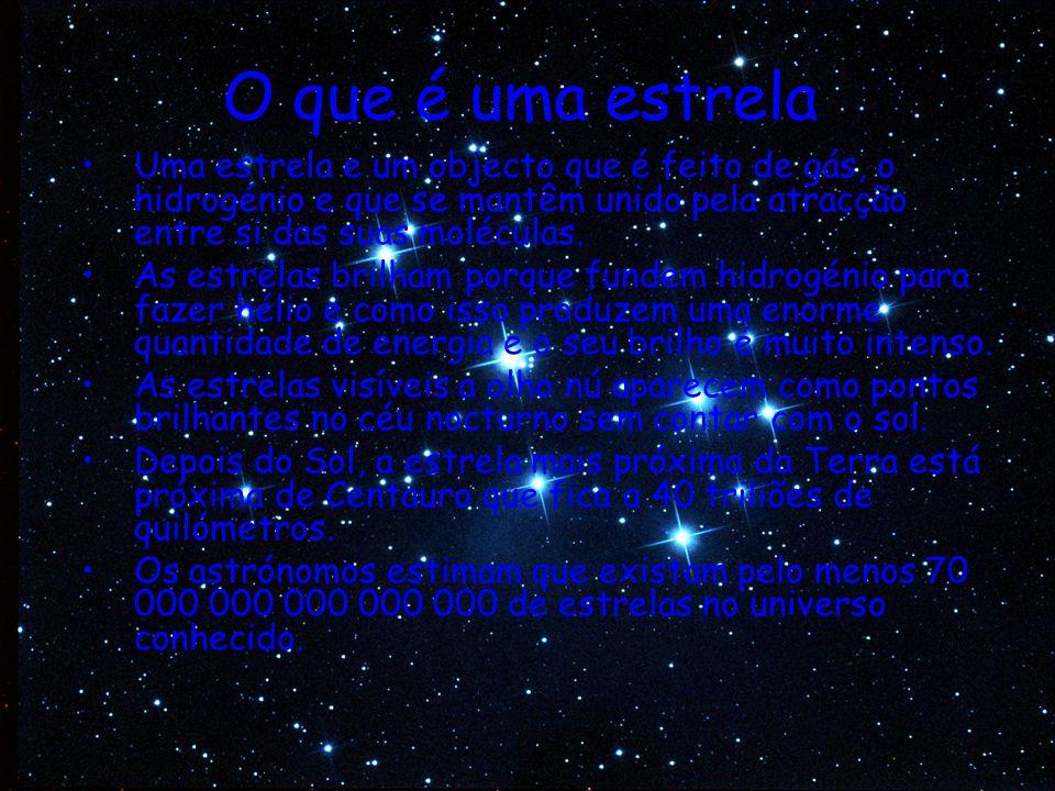 Tipos de estrelas Há diferentes tipos de estrelas consoante o seu brilho, temperatura, tamanho e cor.