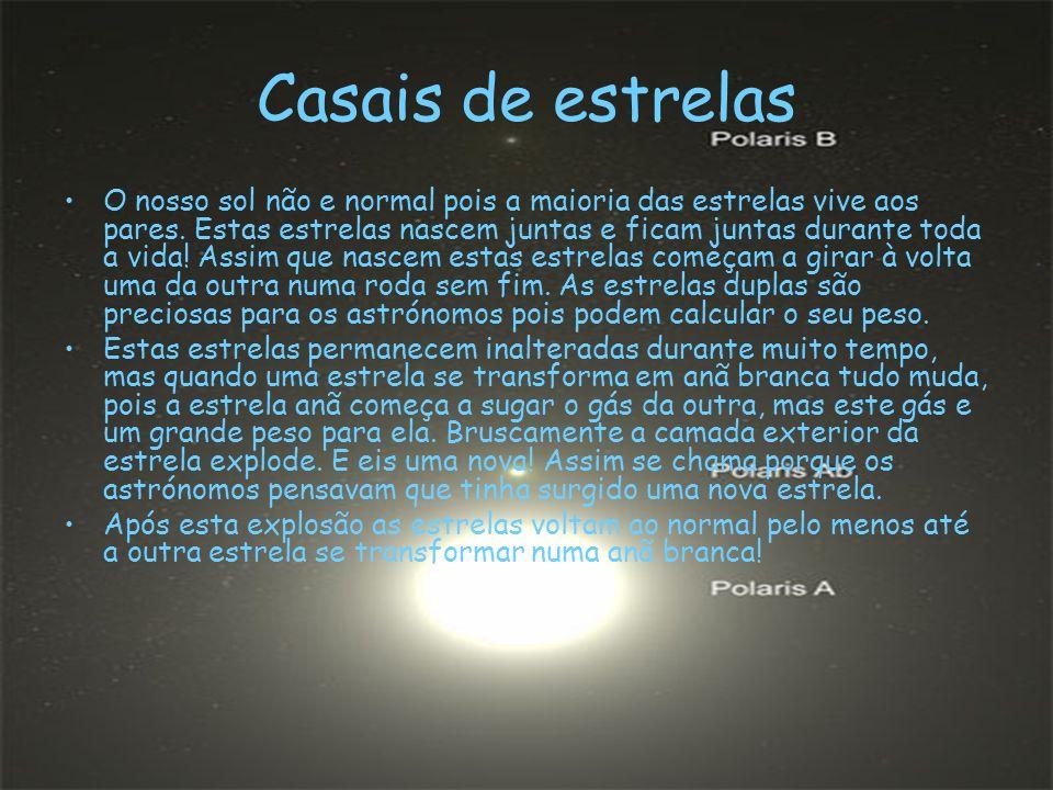 Casais de estrelas O nosso sol não e normal pois a maioria das estrelas vive aos pares.