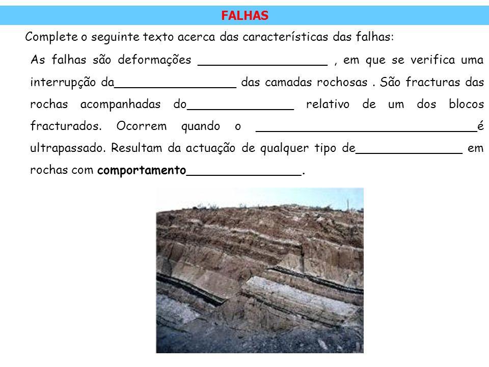 FALHAS Complete o seguinte texto acerca das características das falhas: As falhas são deformações _________________, em que se verifica uma interrupçã