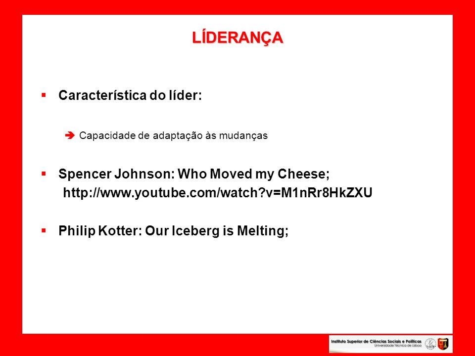 LÍDERANÇA LÍDERANÇA Característica do líder: Capacidade de adaptação às mudanças Spencer Johnson: Who Moved my Cheese; http://www.youtube.com/watch?v=