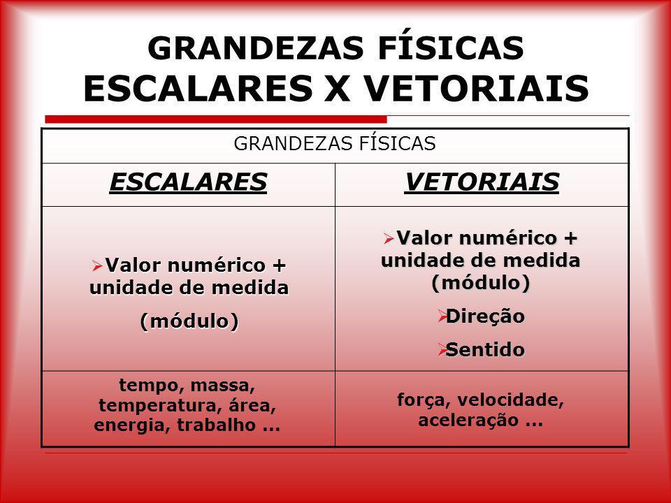 GRANDEZAS FÍSICAS ESCALARES X VETORIAIS GRANDEZAS FÍSICAS ESCALARESVETORIAIS Valor numérico + unidade de medida (módulo) Valor numérico + unidade de m