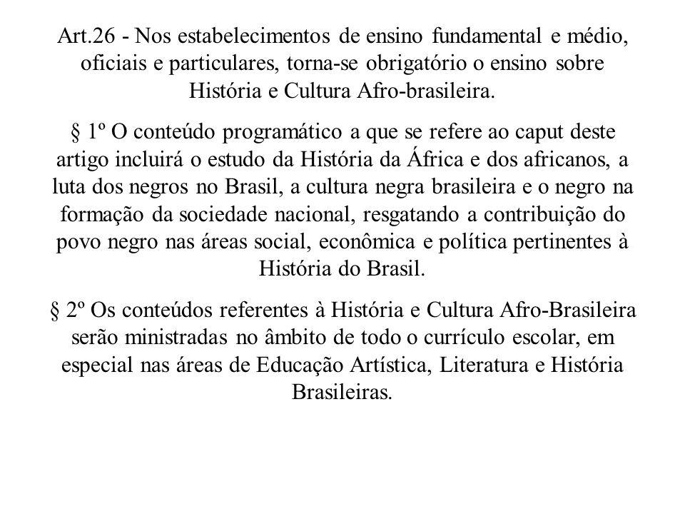 Art.26 - Nos estabelecimentos de ensino fundamental e médio, oficiais e particulares, torna-se obrigatório o ensino sobre História e Cultura Afro-bras