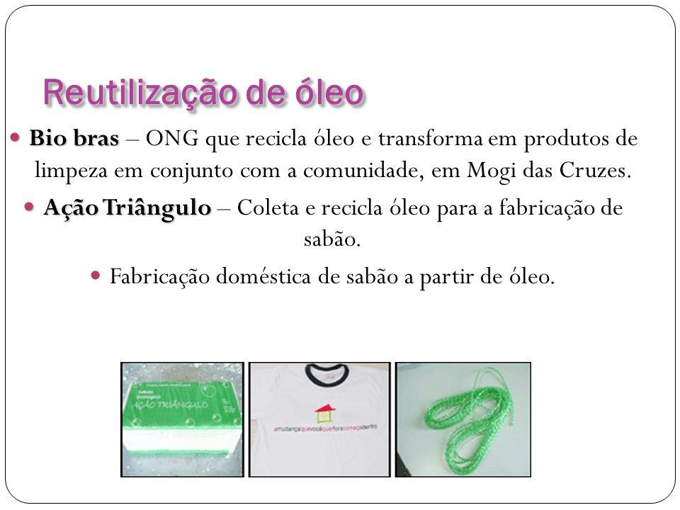 Reutilização de óleo Bio bras Bio bras – ONG que recicla óleo e transforma em produtos de limpeza em conjunto com a comunidade, em Mogi das Cruzes. Aç