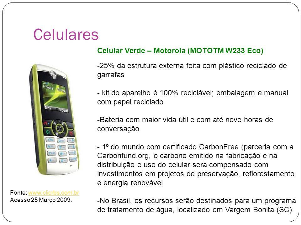 Celulares Celular Verde – Motorola (MOTOTM W233 Eco) -25% da estrutura externa feita com plástico reciclado de garrafas - kit do aparelho é 100% recic
