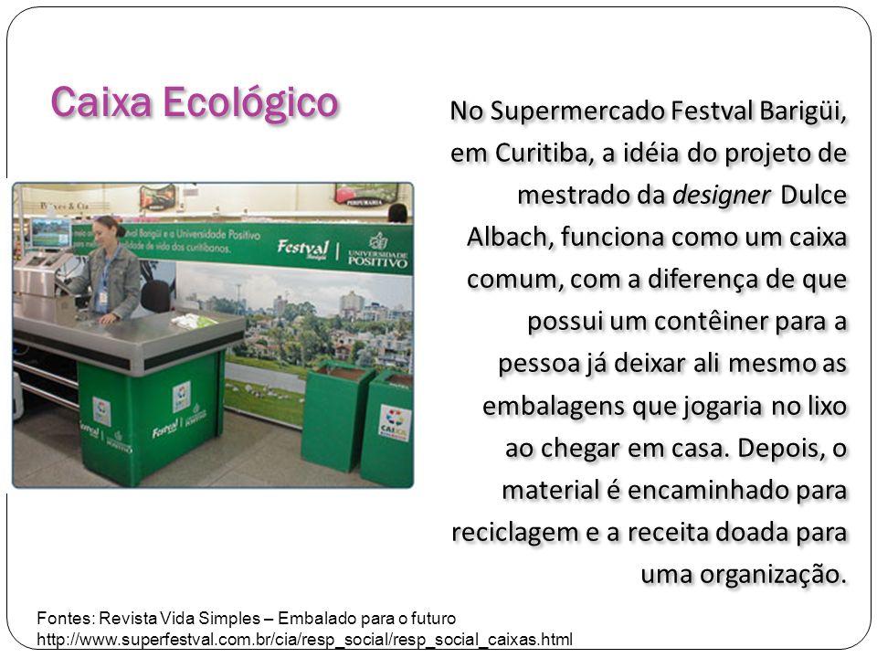Caixa Ecológico No Supermercado Festval Barigüi, em Curitiba, a idéia do projeto de mestrado da designer Dulce Albach, funciona como um caixa comum, c