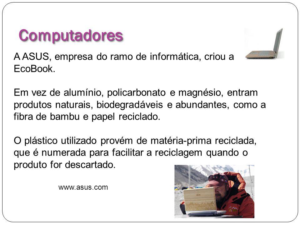 ComputadoresComputadores A ASUS, empresa do ramo de informática, criou a EcoBook. Em vez de alumínio, policarbonato e magnésio, entram produtos natura