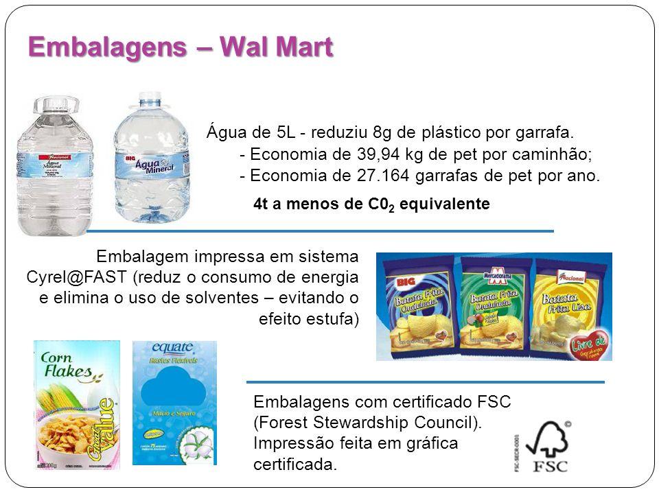 Água de 5L - reduziu 8g de plástico por garrafa. - Economia de 39,94 kg de pet por caminhão; - Economia de 27.164 garrafas de pet por ano. Embalagens