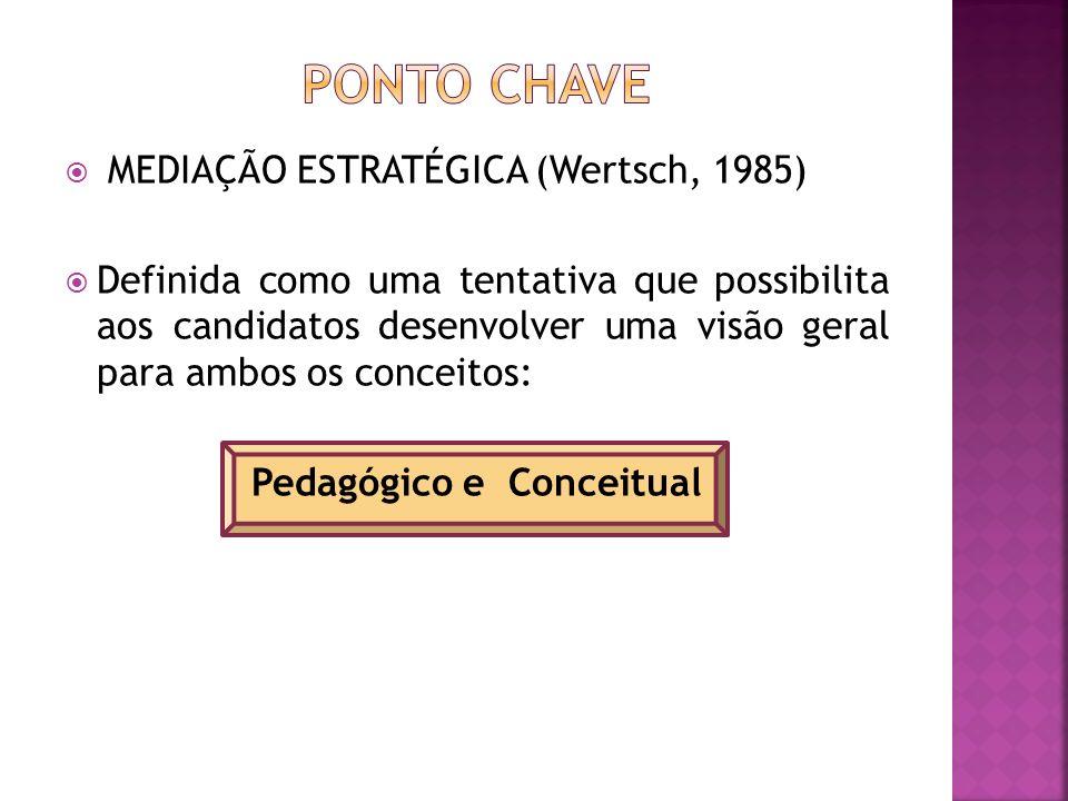 MEDIAÇÃO ESTRATÉGICA (Wertsch, 1985) Definida como uma tentativa que possibilita aos candidatos desenvolver uma visão geral para ambos os conceitos: Pedagógico e Conceitual