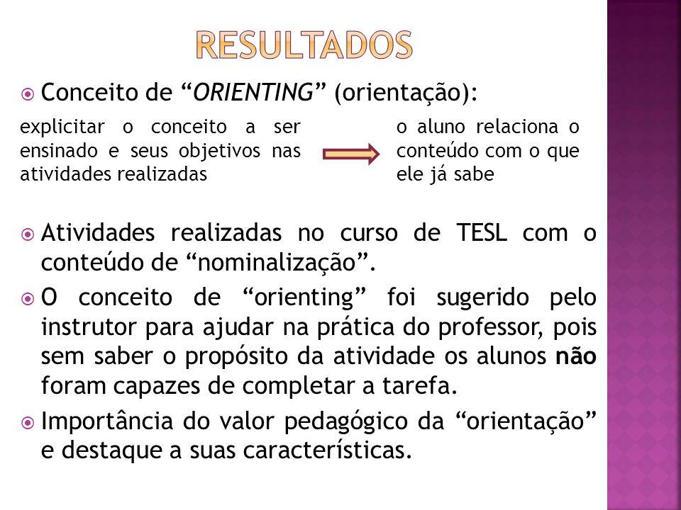 Conceito de ORIENTING (orientação): Atividades realizadas no curso de TESL com o conteúdo de nominalização.