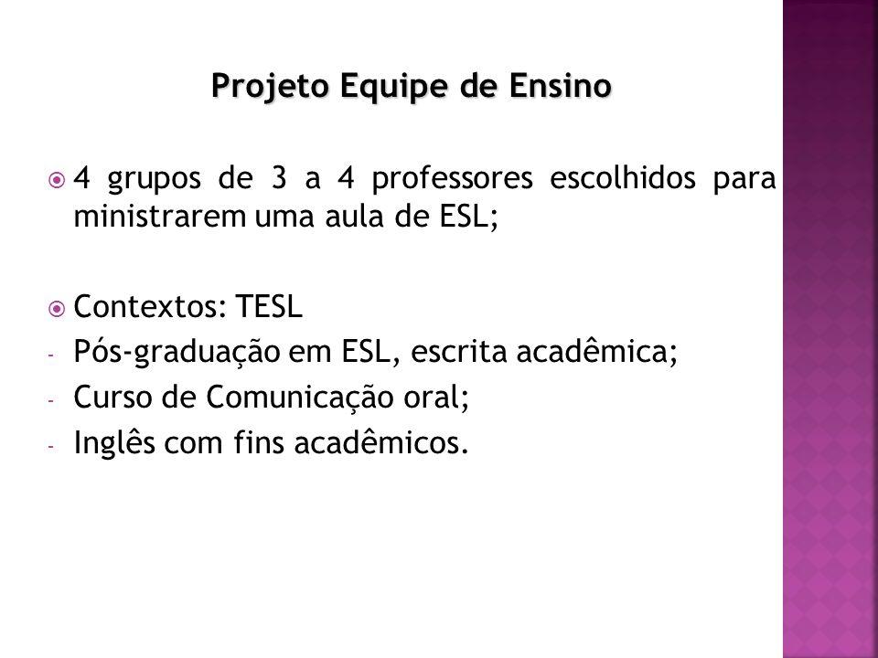 Projeto Equipe de Ensino 4 grupos de 3 a 4 professores escolhidos para ministrarem uma aula de ESL; Contextos: TESL - Pós-graduação em ESL, escrita acadêmica; - Curso de Comunicação oral; - Inglês com fins acadêmicos.