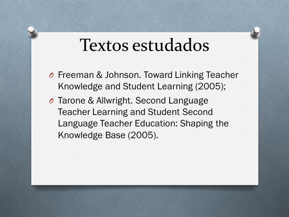 Textos estudados O Freeman & Johnson. Toward Linking Teacher Knowledge and Student Learning (2005); O Tarone & Allwright. Second Language Teacher Lear