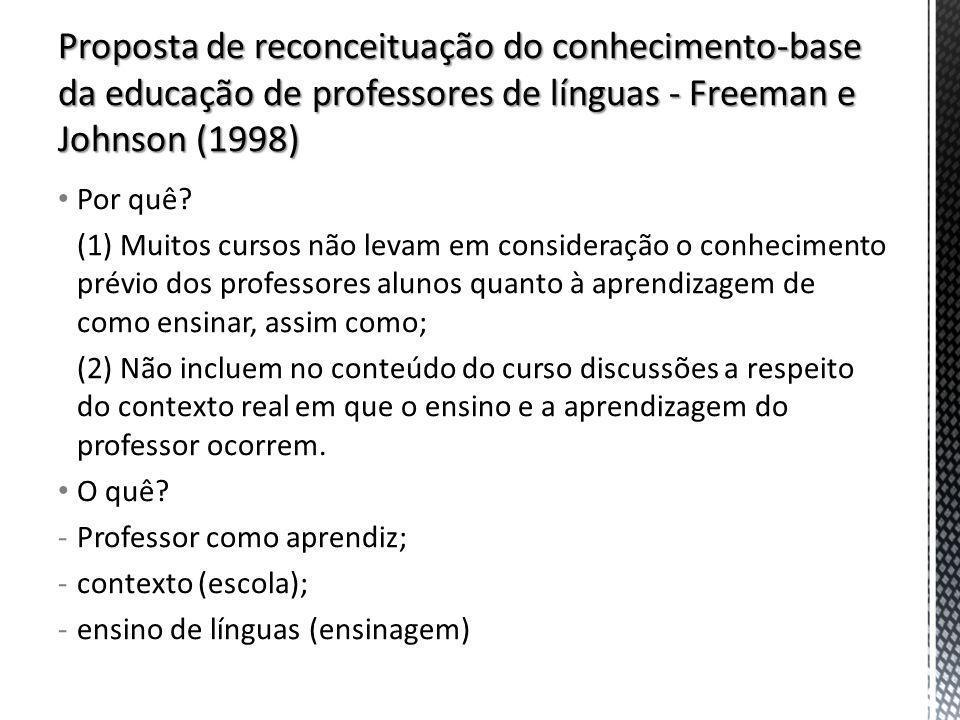 Por quê? (1) Muitos cursos não levam em consideração o conhecimento prévio dos professores alunos quanto à aprendizagem de como ensinar, assim como; (