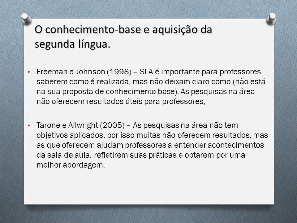 O conhecimento-base e aquisição da segunda língua. Freeman e Johnson (1998) – SLA é importante para professores saberem como é realizada, mas não deix