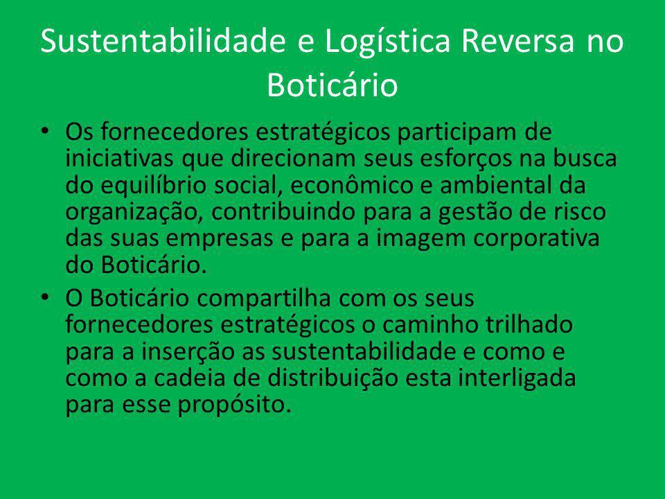 Sustentabilidade e Logística Reversa no Boticário Os fornecedores estratégicos participam de iniciativas que direcionam seus esforços na busca do equi