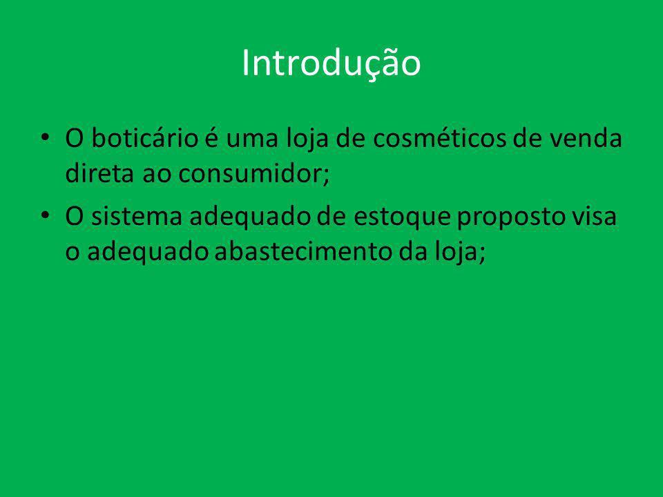 Introdução O boticário é uma loja de cosméticos de venda direta ao consumidor; O sistema adequado de estoque proposto visa o adequado abastecimento da