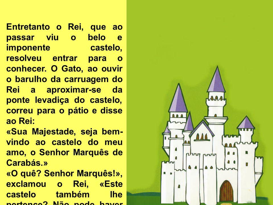 Entretanto o Rei, que ao passar viu o belo e imponente castelo, resolveu entrar para o conhecer. O Gato, ao ouvir o barulho da carruagem do Rei a apro