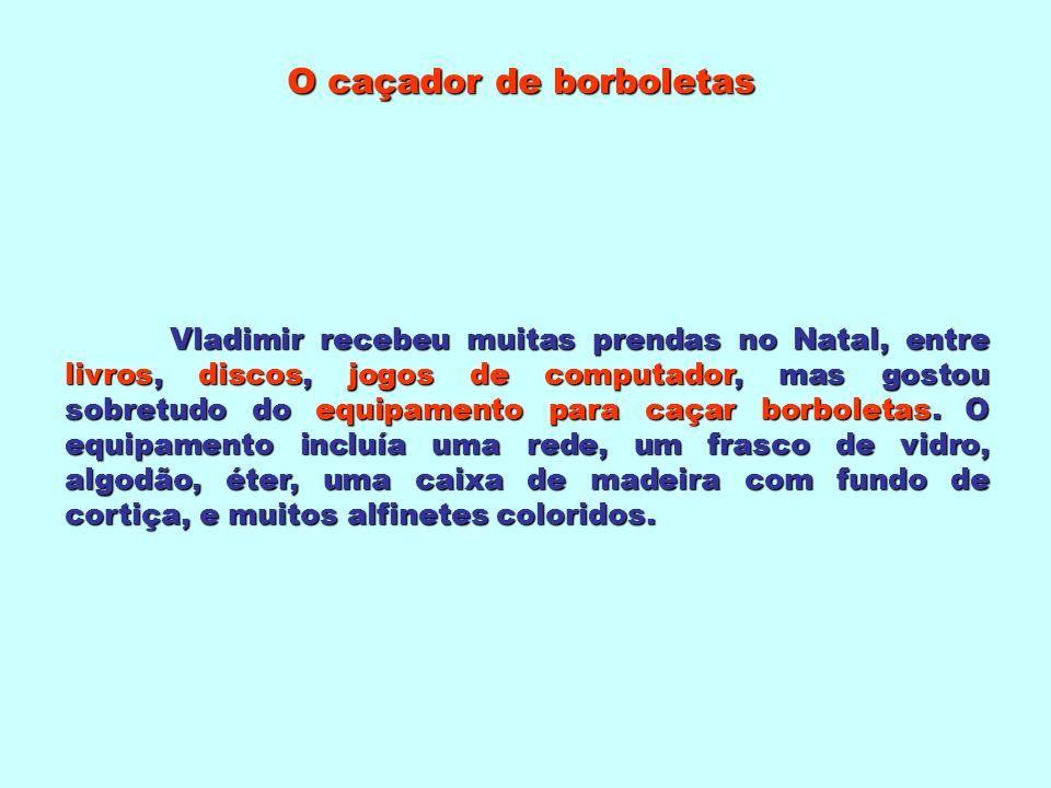 O caçador de borboletas Texto de José Eduardo Agualusa Trabalho realizado por Carlos Samina Ano Lectivo 2006/2007 Projecto de Desenvolvimento das BE/CREs das EB1 e JI do AVE de Palmela