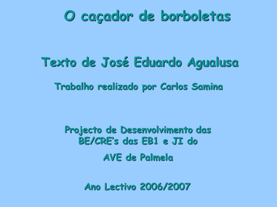 O caçador de borboletas Texto de José Eduardo Agualusa Trabalho realizado por Carlos Samina Ano Lectivo 2006/2007 Projecto de Desenvolvimento das BE/C
