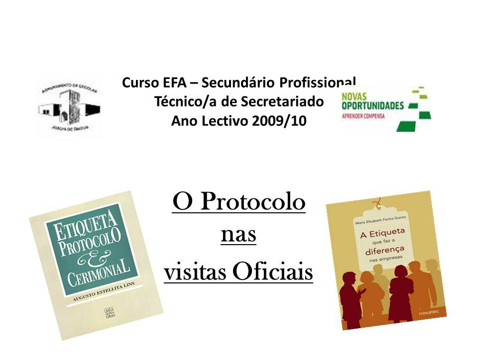 Curso EFA – Secundário Profissional Técnico/a de Secretariado Ano Lectivo 2009/10 O Protocolo nas visitas Oficiais