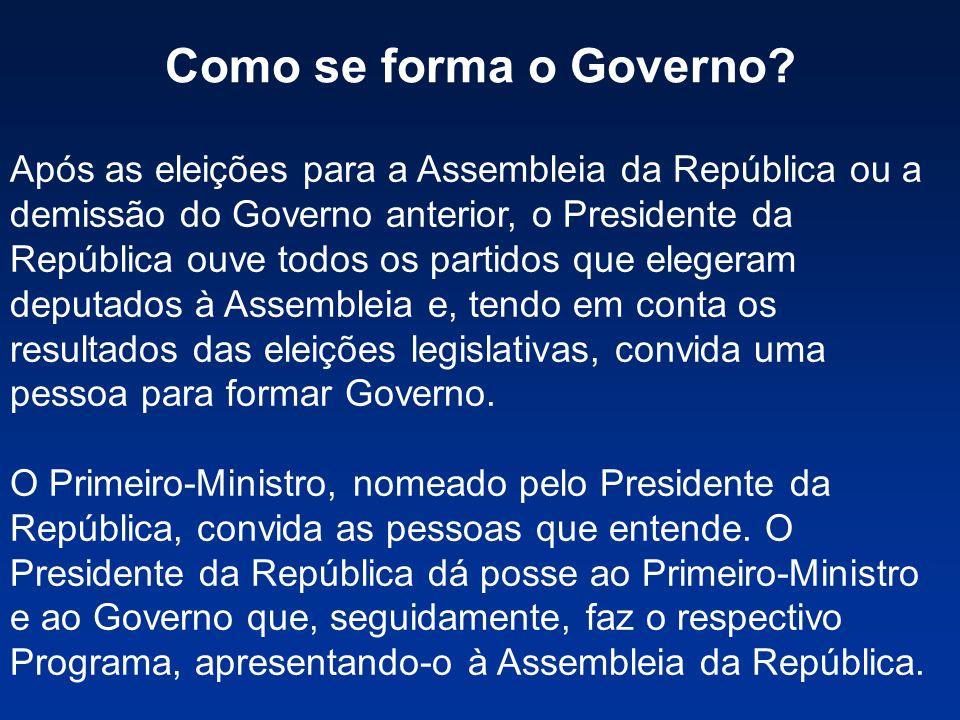 Como se forma o Governo? Após as eleições para a Assembleia da República ou a demissão do Governo anterior, o Presidente da República ouve todos os pa