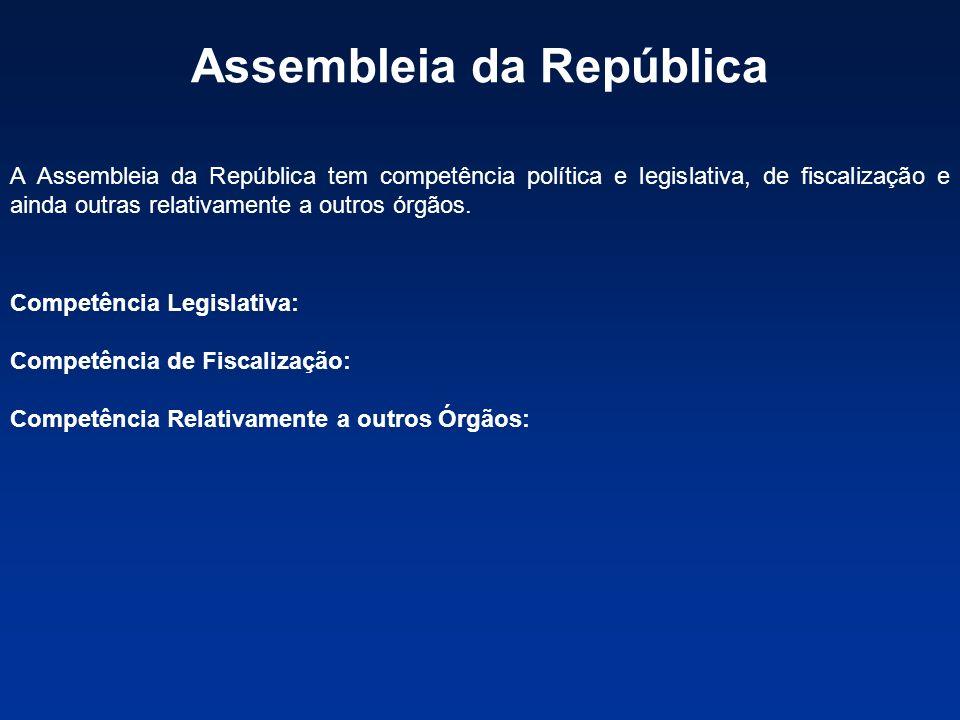 Assembleia da República A Assembleia da República tem competência política e legislativa, de fiscalização e ainda outras relativamente a outros órgãos