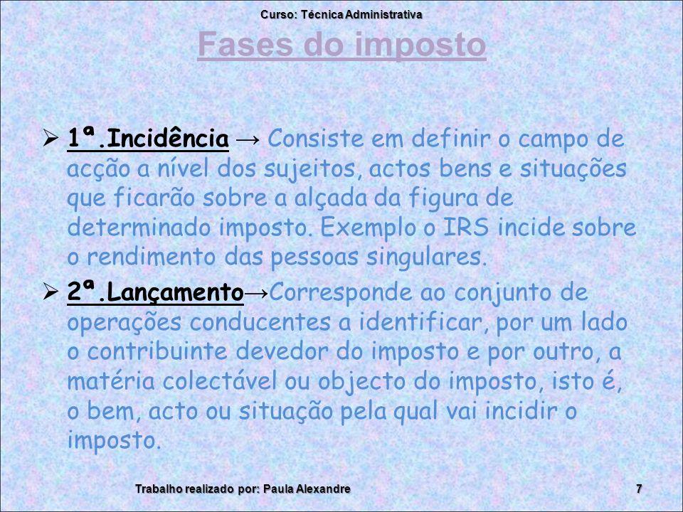 Fases do imposto 1ª.Incidência Consiste em definir o campo de acção a nível dos sujeitos, actos bens e situações que ficarão sobre a alçada da figura