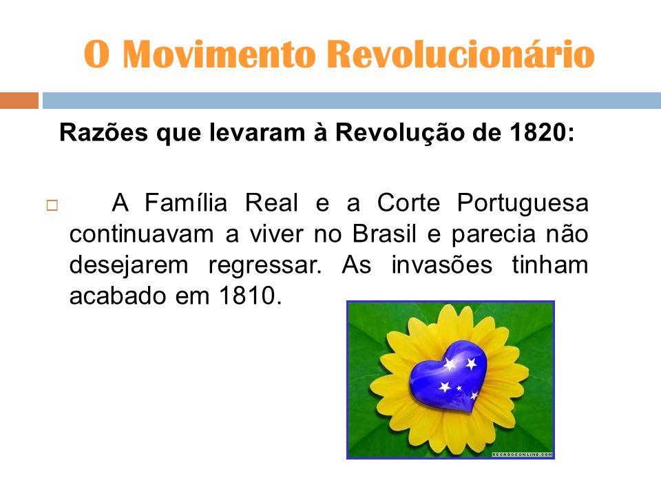 O Movimento Revolucionário Razões que levaram à Revolução de 1820: A Família Real e a Corte Portuguesa continuavam a viver no Brasil e parecia não des