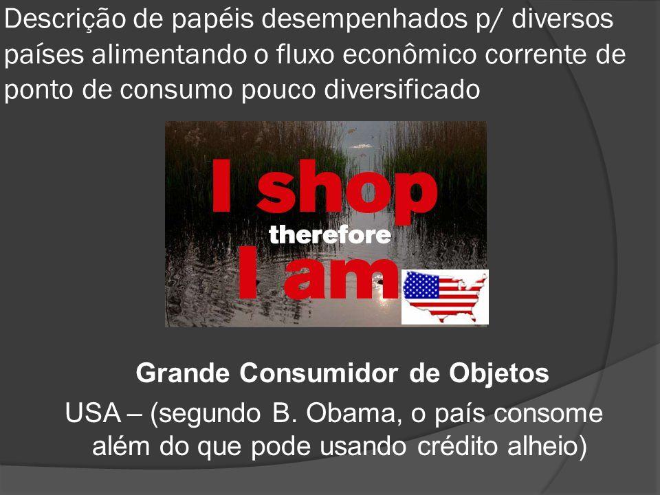 Descrição de papéis desempenhados p/ diversos países alimentando o fluxo econômico corrente de ponto de consumo pouco diversificado Grande Consumidor