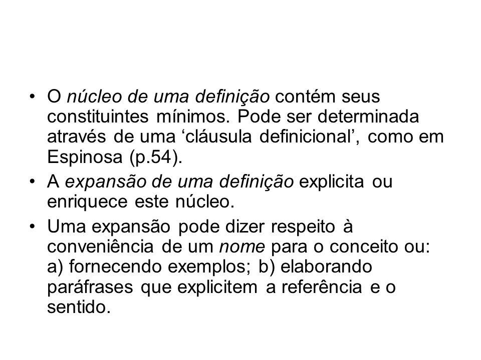 O núcleo de uma definição contém seus constituintes mínimos. Pode ser determinada através de uma cláusula definicional, como em Espinosa (p.54). A exp