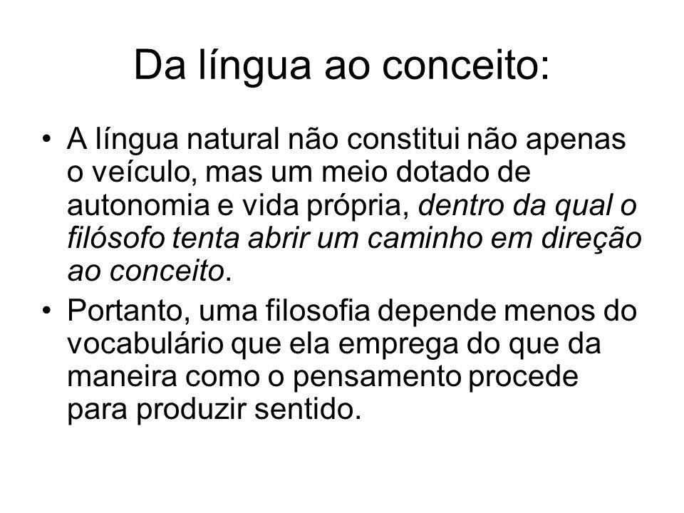 Da língua ao conceito: A língua natural não constitui não apenas o veículo, mas um meio dotado de autonomia e vida própria, dentro da qual o filósofo