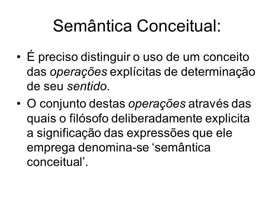 Semântica Conceitual: É preciso distinguir o uso de um conceito das operações explícitas de determinação de seu sentido. O conjunto destas operações a