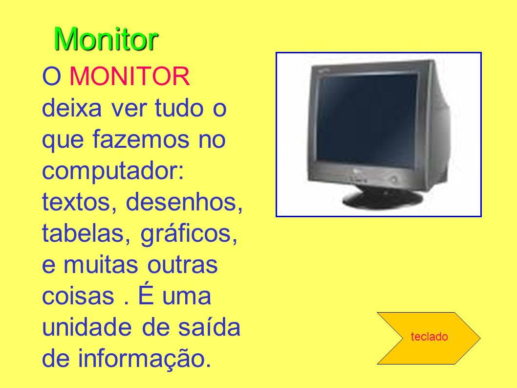 Monitor O MONITOR deixa ver tudo o que fazemos no computador: textos, desenhos, tabelas, gráficos, e muitas outras coisas. É uma unidade de saída de i