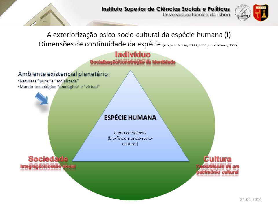 Ambiente existencial planetário: Natureza Inviabilidade dos ecossistemas Mundo tecnológico Riscos globais Ambiente existencial planetário: Natureza Inviabilidade dos ecossistemas Mundo tecnológico Riscos globais A exteriorização psico-socio-cultural da espécie humana (II) Dimensões de continuidade da espécie (adap- E.