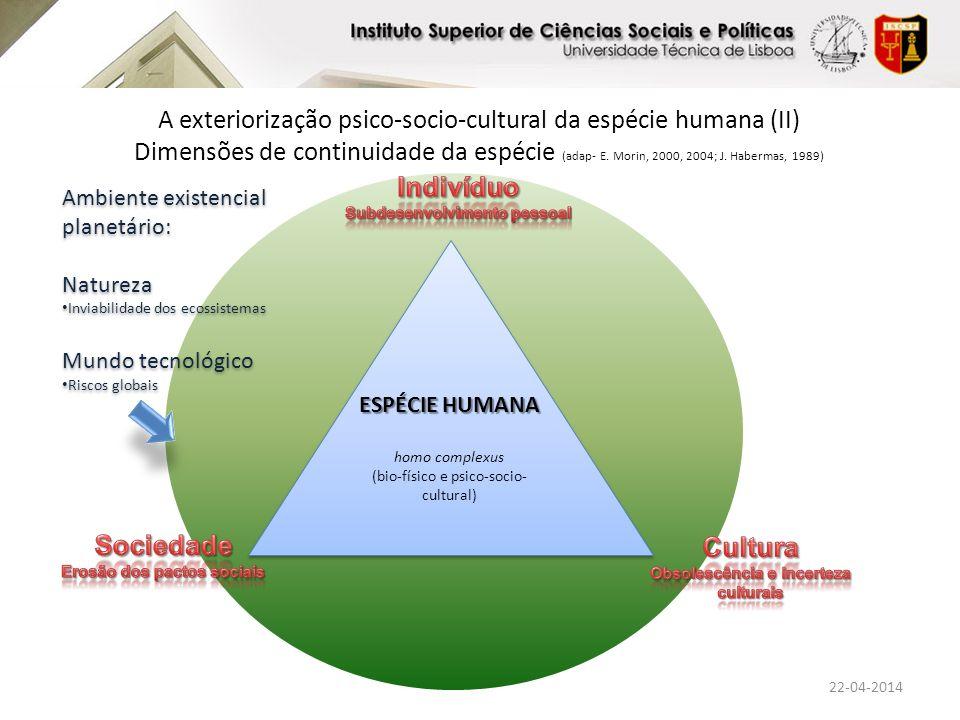 Ambiente existencial planetário: Natureza Ecosofia Mundo tecnológico Tecnologia verde; salvífica Ambiente existencial planetário: Natureza Ecosofia Mundo tecnológico Tecnologia verde; salvífica A exteriorização psico-socio-cultural da espécie humana (II) Dimensões de continuidade da espécie (adap- E.