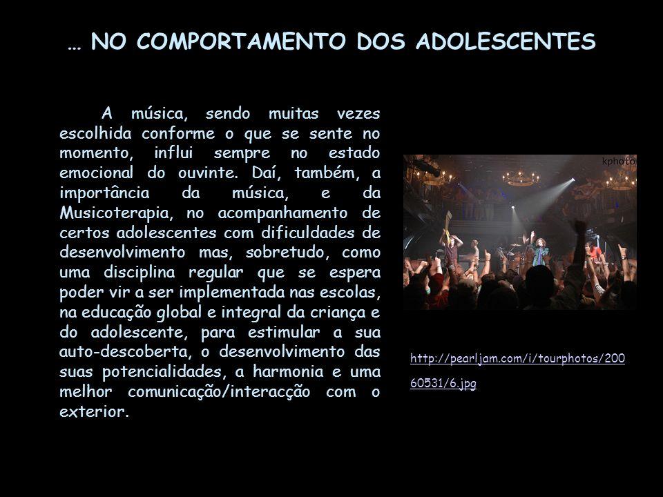 … NO COMPORTAMENTO DOS ADOLESCENTES A música, sendo muitas vezes escolhida conforme o que se sente no momento, influi sempre no estado emocional do ou