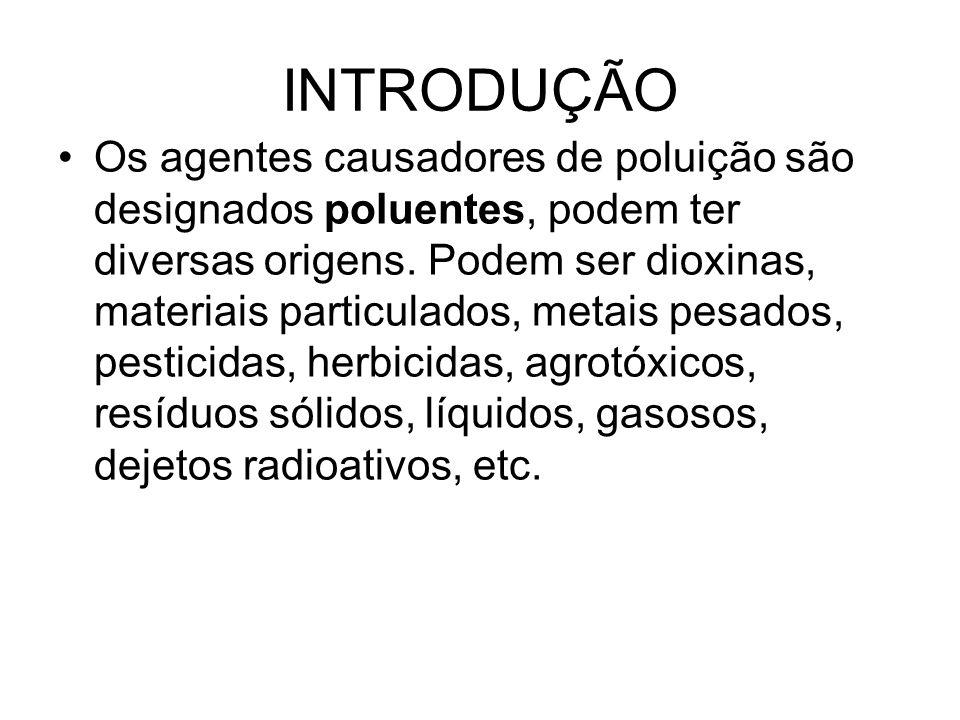 INTRODUÇÃO Os agentes causadores de poluição são designados poluentes, podem ter diversas origens. Podem ser dioxinas, materiais particulados, metais