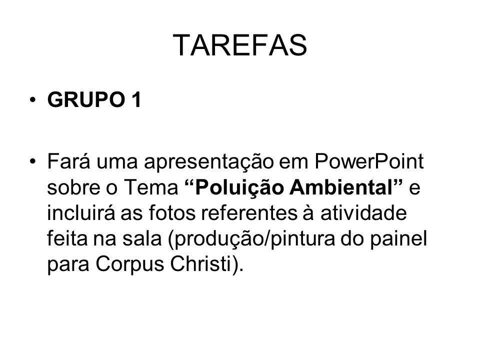 TAREFAS GRUPO 1 Fará uma apresentação em PowerPoint sobre o Tema Poluição Ambiental e incluirá as fotos referentes à atividade feita na sala (produção