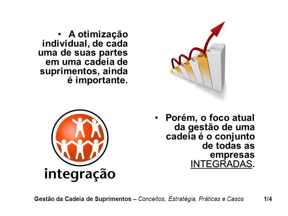 INTEGRADASPorém, o foco atual da gestão de uma cadeia é o conjunto de todas as empresas INTEGRADAS. A otimização individual, de cada uma de suas parte