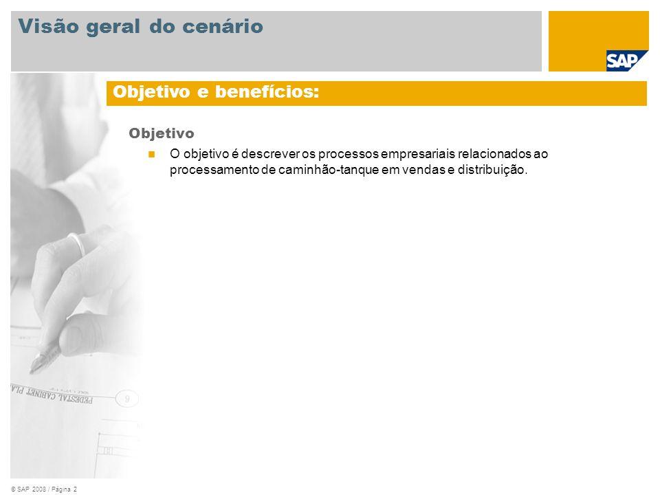 © SAP 2008 / Página 2 Objetivo O objetivo é descrever os processos empresariais relacionados ao processamento de caminhão-tanque em vendas e distribui