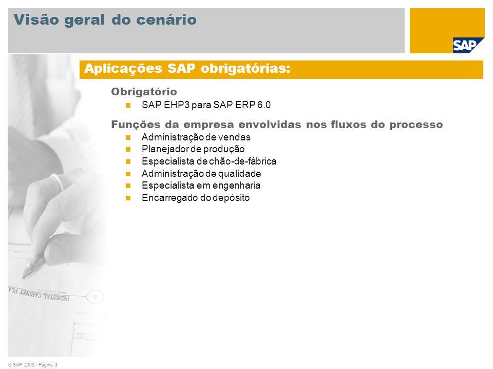 © SAP 2008 / Página 3 Obrigatório SAP EHP3 para SAP ERP 6.0 Funções da empresa envolvidas nos fluxos do processo Administração de vendas Planejador de