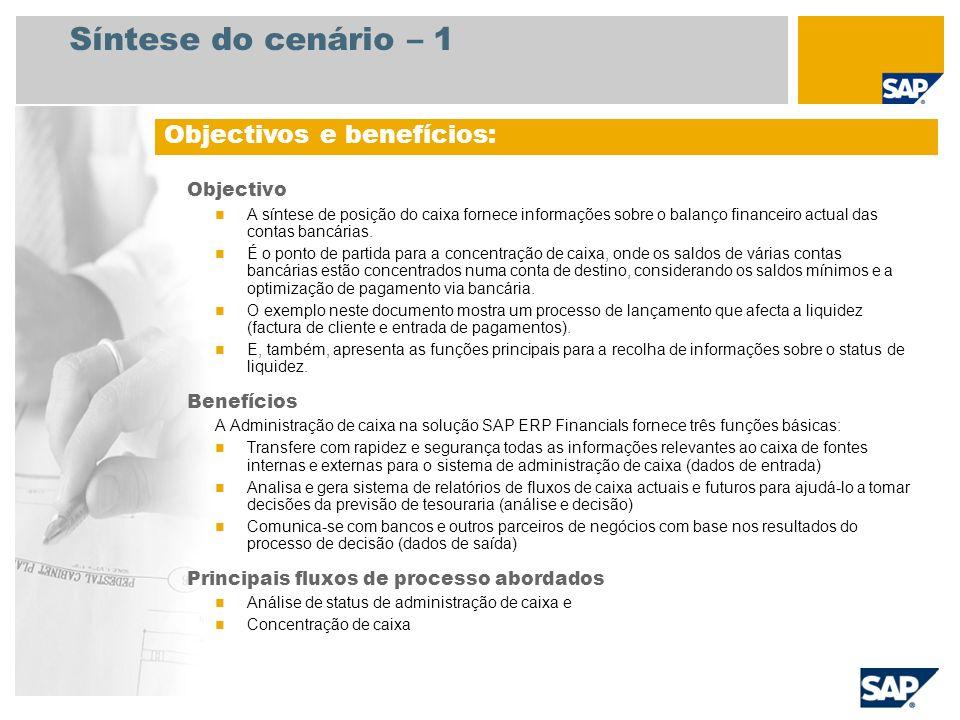 Síntese do cenário – 2 Necessário EHP3 for SAP ERP 6.0 Funções da empresa envolvidas nos fluxos do processo Administrador financeiro Contador de contas a pagar 2 PN: contador do banco Aplicativos SAP necessários: