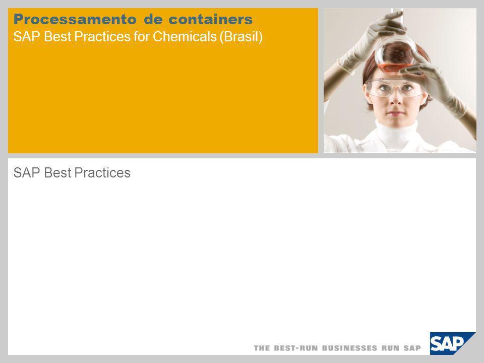 © SAP 2008 / Página 2 Objetivo O objetivo é descrever os processos empresariais relacionados ao processamento de containers na indústria química.