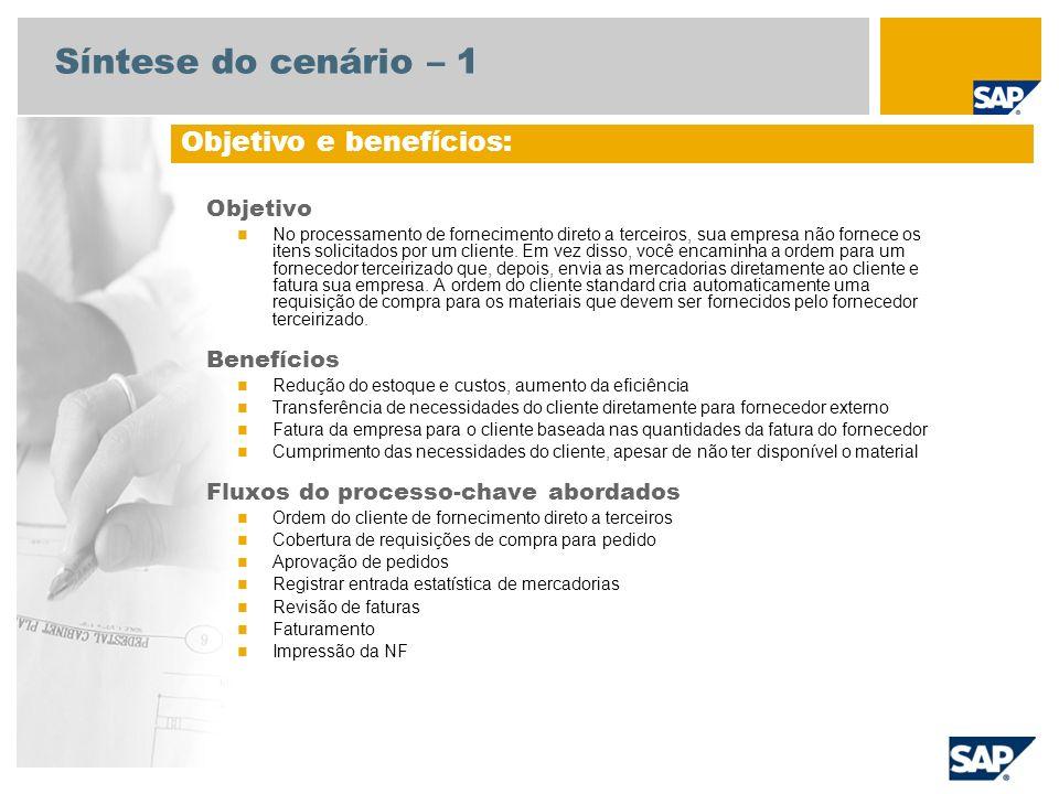 Síntese do cenário – 1 Objetivo No processamento de fornecimento direto a terceiros, sua empresa não fornece os itens solicitados por um cliente. Em v