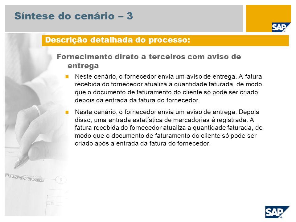 Síntese do cenário – 3 Fornecimento direto a terceiros com aviso de entrega Neste cenário, o fornecedor envia um aviso de entrega. A fatura recebida d